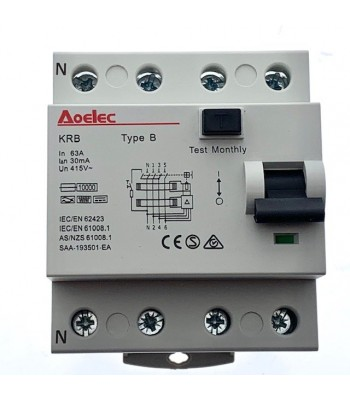 RCD Type B, RCCB, 63 Amp, 3 Phase (Installations: Electric Vehicle Charging)